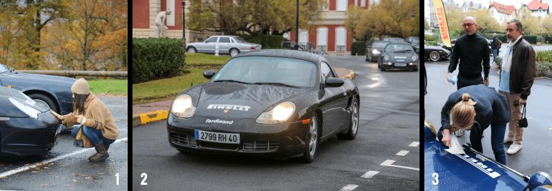 PAOLA et LA DÉCO DE LA Porsche 996 TURBO CABRIOLET, MONIQUE ET MICHEL, DANS La Porsche 911 3.2 BOXTER et collage d'un stickers PIRELLI